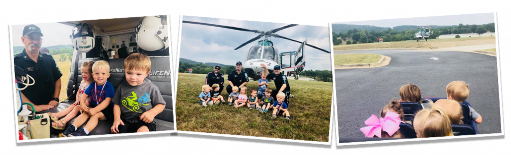 LifeNet Air 2 medical helicopter visits Crossgater Preschool in Hot Springs