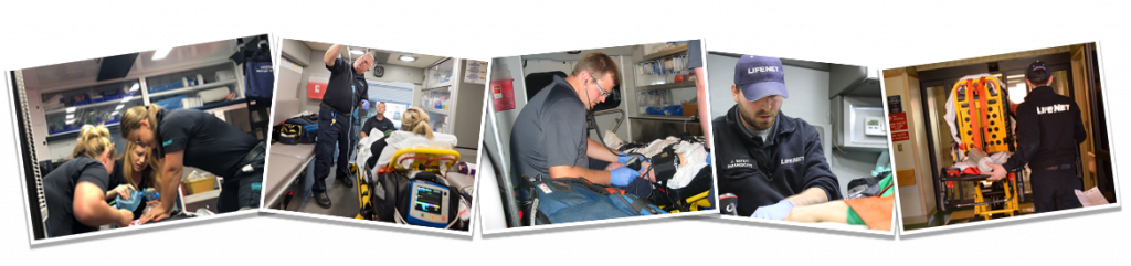 Behind the scenes at LifeNet EMS photo collage of paramedics and EMTs on the job working.