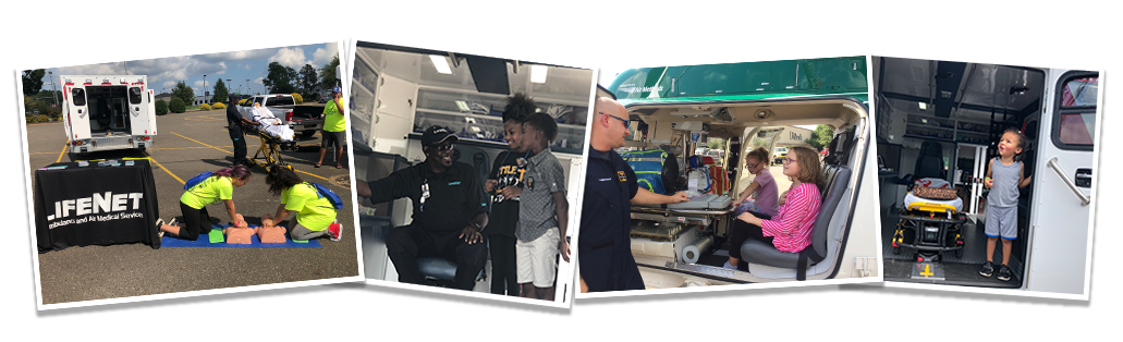 Barry Global Safety Awareness Day - LifeNet EMS photo collage included bystander CPR, LifeNet air medical helicopter, and LifeNet ground ambulance tours.
