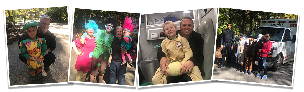 Garven Gardens Fall Festival - LifeNet EMS Staff and kids in Halloween costume.