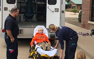 LifeNet EMS in Stillwater teaches kids about the ambulance at the Stillwater Public Library Try It Tuesdays event.