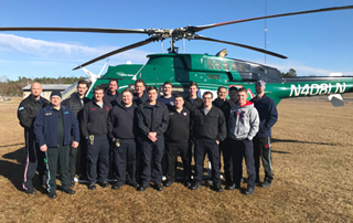 LifeNet Air 2 medical helicopter crew teaches an LZ class at the Arkansas Fire Academy in Camden, Arkansas.