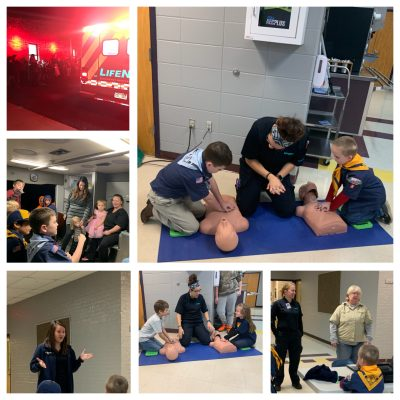 Fountain Lake Cobra Cub Scouts learn about calling 9-1-1 and bystander CPR from LifeNet EMS Hot Springs.
