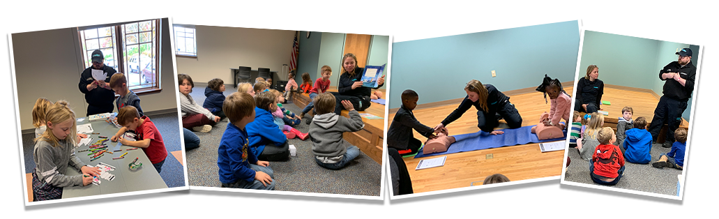 LifeNet EMS teaches kids at the Graland County Library about EMS, including what to do when calling 9-1-1 and the basics of bystander CPR.