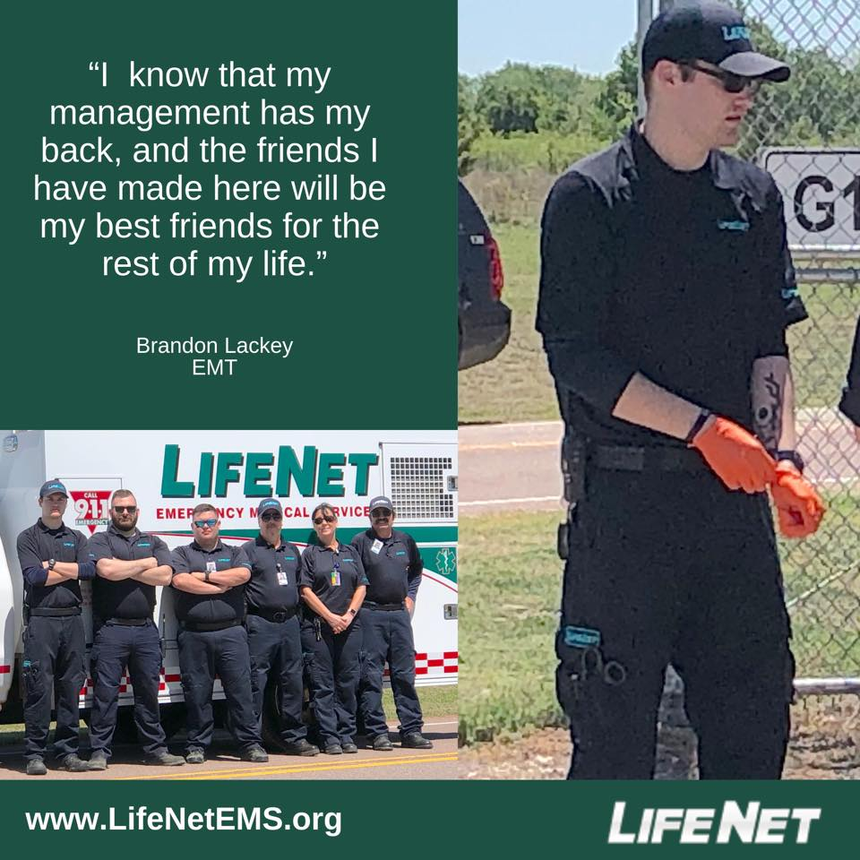 Brandon Lackey is an EMT for LifeNet EMS in Stillwater, Oklahoma.