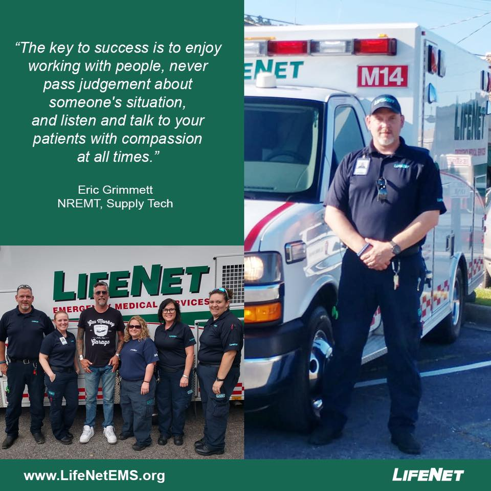 Eric Grimmett is an EMT and a supply tech for LifeNet EMS in Hot Springs, Arkansas.