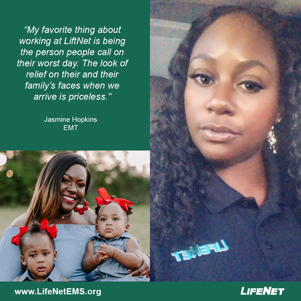Jasmine Hopkins is an EMT for LifeNet in Texarkana.