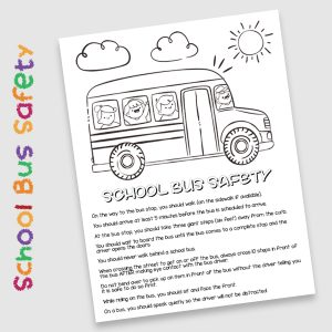 Free School Bus Safety Color Sheet & Bus Stop Safety Tips for Elementary Kids