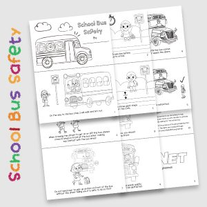 Free School Bus Stop Safety Activity Coloring Book and Story for Elementary Kids