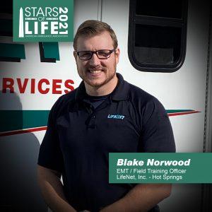 LifeNet EMT Blake Norwood named 2021 Star of Life in Hot Springs, Arkansas.